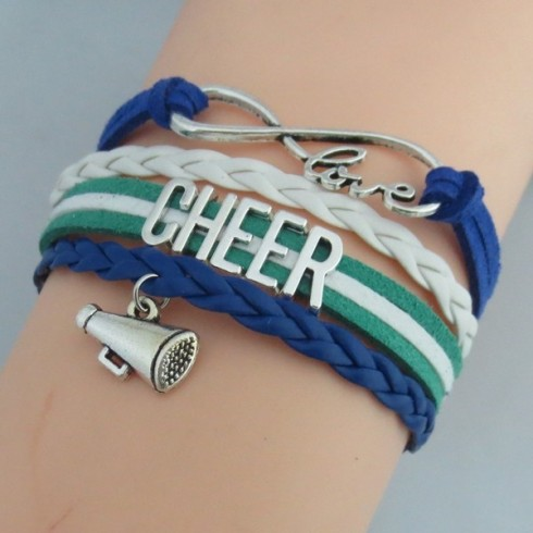 Cheer Armband grün / weiß / blau