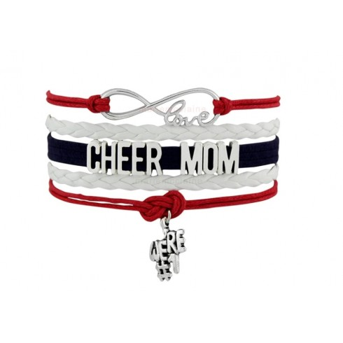 Cheer Mom Armband weiß / rot