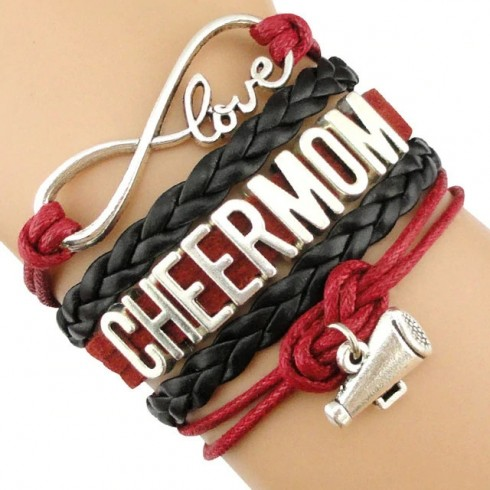 Cheer Mom Armband weinrot / schwarz