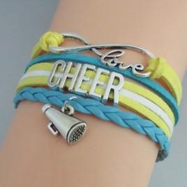 Cheer Armband gelb / weiß / blau