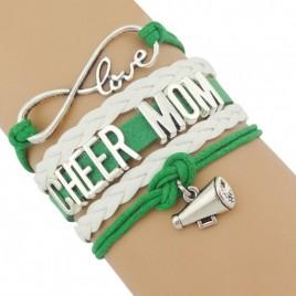 Cheer Mom Armband grün / weiß