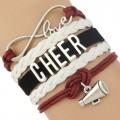 Cheer Armband Cheer love weiß / rot / schwarz